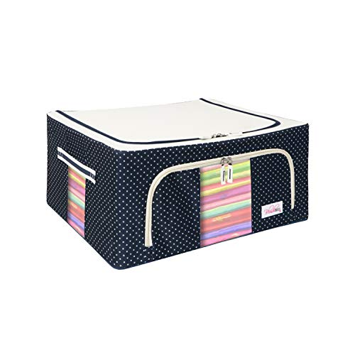 BlushBees Oxford fabric Living Box – Storage Boxes for Clothes, Saree Cover Bags – 44 Litre (Pack of 1, Polka Dot Blue)