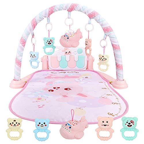 AJAMQ Gimnasio-Piano Pataditas,Manta Juegos Bebe,Baby Pedal Piano Body Building Instrument - para Recién Nacido Baby Music Game Blanket Toy Ringing Bell - Baby Fitness Game Pad,Rosado
