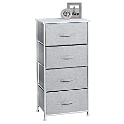mDesign Vertical Furniture Storage Tower - Sturdy Steel Frame, Wood Top, Easy Pull Fabric Bins - Organizer Unit for Bedroom, Hallway, Entryway, Closets - Textured Print - 4 Drawers - Gray/White