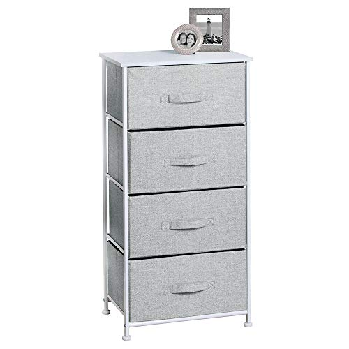 mDesign Vertical Furniture Storage Tower - Sturdy Steel Frame Wood Top Easy Pull Fabric Bins - Organizer Unit for Bedroom Hallway Entryway Closets - Textured Print - 4 Drawers - GrayWhite