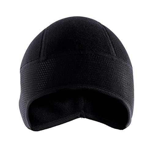 R-WEICHONG Kopfbedeckung, Winter-Fahrradmütze, winddicht, warm, Polar-Fleece, Thermo-Helm, Beanies, Mütze, einfarbig, zum Wandern, Skifahren, Ohrenwärmer, Unisex