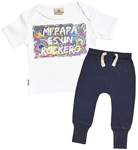SR - Mi papá es un rockero Regalo para bebé - Blanco Camiseta para bebés & Azul-Marino Pantalones de Jogging para bebé - Ropa Conjuntos para bebé - 0-6 Meses