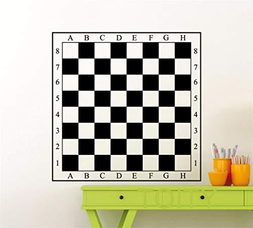 Vinilos De Pared Decorativos Tablero de ajedrez Pegatina Arte de la pared Tablero de damas Decal Dormitorio Estudio Decoración de la habitación para el centro de ajedrez