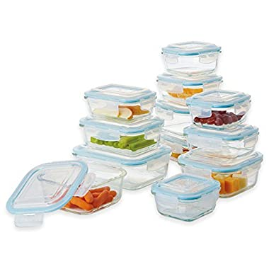 Pro Glass 24-Piece Oven Safe Glasslock Food Storage Container Set with Easy Snaplock Lids
