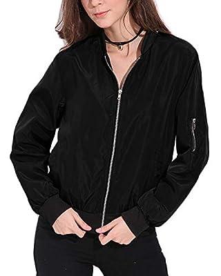 Celmia Vintage Long Sleeve Solid Side Pockets Classic Padded Bomber Jacket Biker Coat (L, Black) by