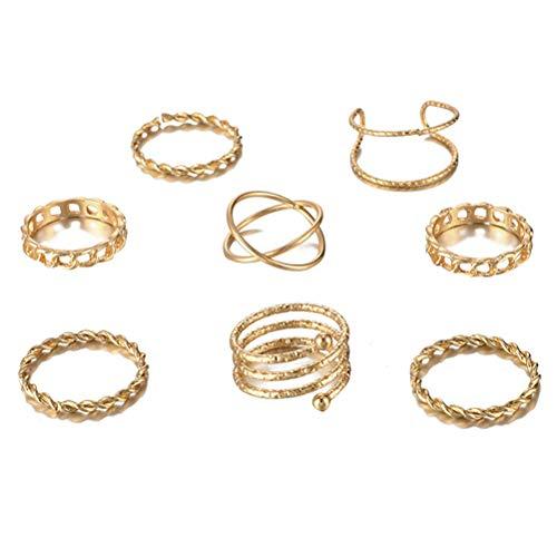 SOIMISS 8 Stück Kreative Knöchelringe Set Vintage Golden Crossed Rings Stapelbare Fingerring Geschenk