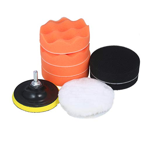 VISLONE 10pcs Polishing Pad Kit 4-inch Foam Buffing Pads with Waffle Foam Wool Pad Backing Plate for Angle Grinder Buffer Orbital Polisher Sander Rotary