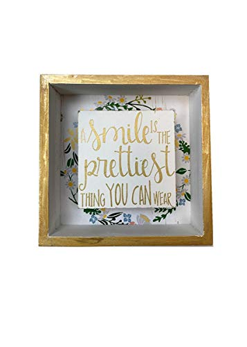 Parisloft Gold-Edged Wood Box Sign, Mini Tabletop Block Sign, 6' x 6', A Smile is The Prettiest Thing You Can Wear