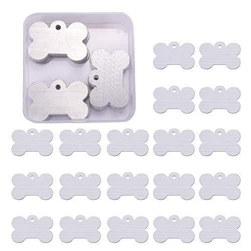 BENECREAT 30 PCS Colgante de Pulsera en Blanco Etiqueta de Estampación de Aluminio para Manualidad de Joyería Colgante Etiqueta para Perro - 4x2.7cm, en Forma de Hueso de Perro