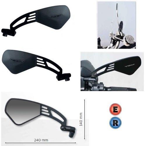 pour Suzuki GSR 750 Paire DE MIROIRS DE Guidon RETROVISEUR pour Motocyclette Noir HOMOLOGUES Far 7334+7335+KIT DE Montage M.8 10X1,25 Universel