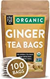 Organic Ginger Tea Bags | 100 Tea Bags | Eco-Conscious Tea Bags in Kraft Bag | Raw from India | by FGO