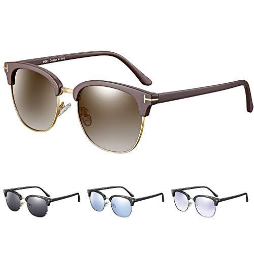 rezi Unisex UV400 Polarisierte Retro Vintage Design Sonnenbrille Brille Leichter Metallischer Vollrahmen UV-Schutz, Braun/Gold, Braun Verspiegelt