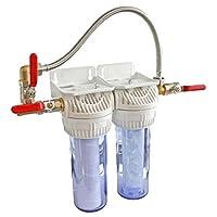 Ce kit complet est utilisé pour le traitement de l'eau de la maison. Il est composé d'une cartouche filtrante et d'une cartouche anti-tartre. Les fonctions des sont : - Anti-impuretés : il élimine les micropolluants en suspension dans l'eau (sable, a...