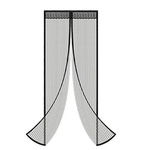 Magnetic Screen Door, YongCheng 34x82inch Black Polyester Mesh with 32 Built in Magnets & 2 Gravity Sticks, Full Frame Velcro Door Mesh Curtain for sliding glass door 32 x 80/french doors fiberglass