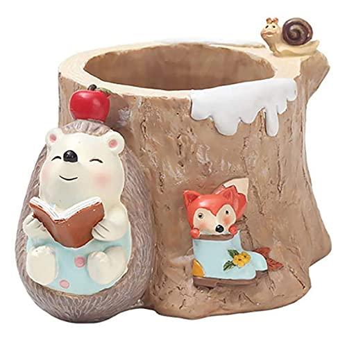 XVBN Creative Little Hedgehog vaso per fiori in resina con animaletti di cartone animato e animali, adatto per la decorazione da tavolo di fiori, piante grasse e grasse domestiche