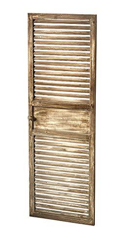 Kobolo Deko-Fensterladen Zier-Fensterladen Tür mit Lamellen - 40x115 cm - Vintage - grau weiß