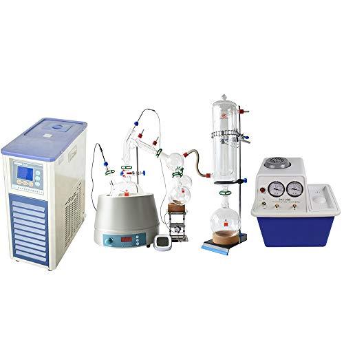 Short Path Distillation Kit 2L,Full Short Path Distillation Kit with Stirring Heating Mantle, Chiller, Vacuum Pump