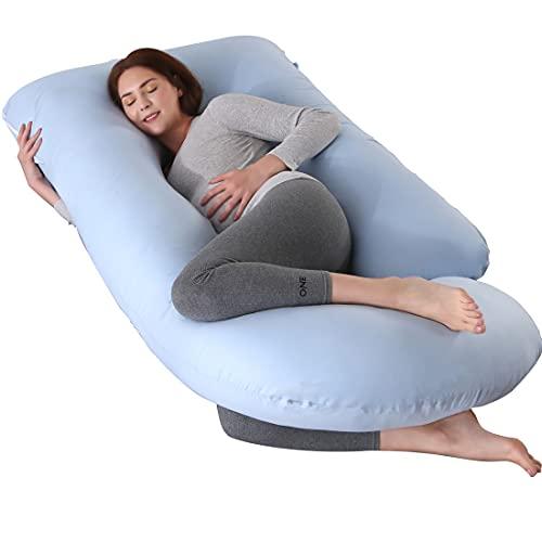 ARNTY Cojin Embarazada Dormir,Almohada Embarazada Dormir Multifuncional en Forma de u,Almohada de Cuerpo para Soporte para Hombros, Caderas, Piernas, Vientre (Azul)