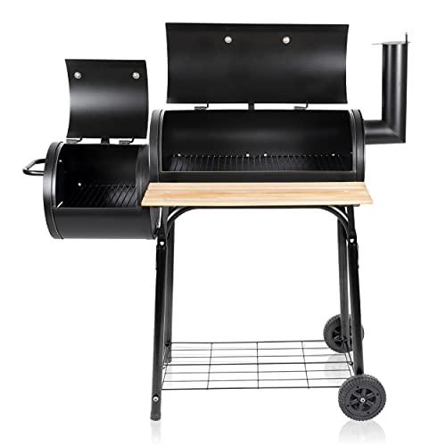 BBQ Collection Griglia per affumicatore – Grill e affumicatore – con forno separato – Canale per fumo regolabile – 104 x 58 x 114 cm