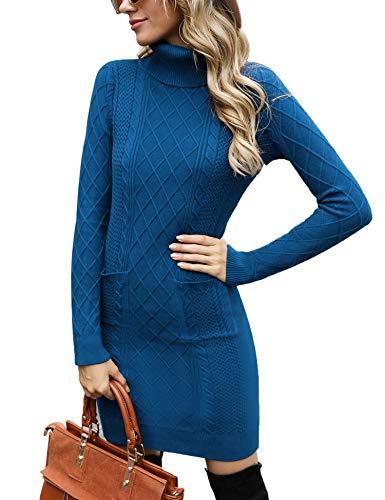 Irevial Vestido Punto Mujer Manga Larga, Jersey Vestidos Invierno Mujer Cuello Alto, Vestido a Punto Cuello Alto para Mujer Otoño Invierno Azul Vaquero-L