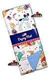 Fireworks and Patriotic Dogs Dressed in Red White and Blue Kitchen Dish Drying Mat with 2 Patriotic Refrigerator Magnets - Reversible 15' x 20'