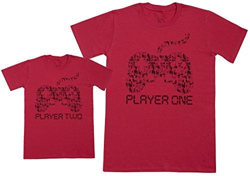 Baby Bunny Player One & Player Two- Regalo para Padres e Hijos - Camiseta de niño y Camiseta de Hombre - Azul - L & 5-6 años