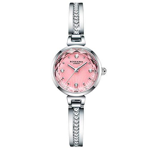RORIOS Damen Uhr Analog Quarz Uhr mit Edelstahlarmband Elegance Strass Uhren Wasserdicht Freizeit Damenuhr Mode Armbanduhren für Damen Frauen