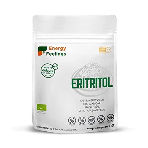Energy Feelings Eritritol Granulado Ecológico, 0% Kcal, Edulcorante y Endulzante Natural, Sin Azúcar, Sin Gluten, Vegano, Edulcorante para Cocinar, 200G