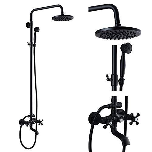 Matte Black Wall Mounted Bathroom Rainfall Shower Faucet System Set Mixer 8-Inch Round Head Double Cross Handles Bathroom Bathtub Hand Spray Tub Spout Bathroom Fixtures
