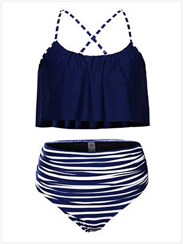 QIAO Damen Sommer Bikini, Sling/Rüsche/Hohe Taille/Schnelltrocknend/Strand Badeanzug Zweiteiler...