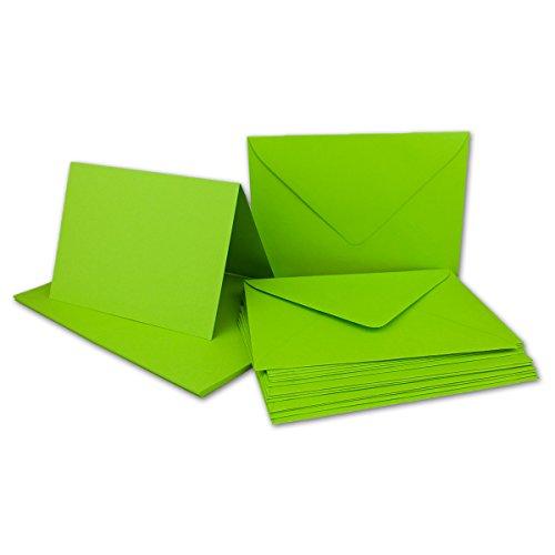 Kartenpaket DIN A6/C6 Hellgrün - 20 Sets - Doppel-Karten/Klapp-Karten gefalzt -Grammatur 220 g/m² - Briefumschläge - Grammatur 120 g/m² - für Einladungen, Weihnachtskarten - wunderschönen Farben