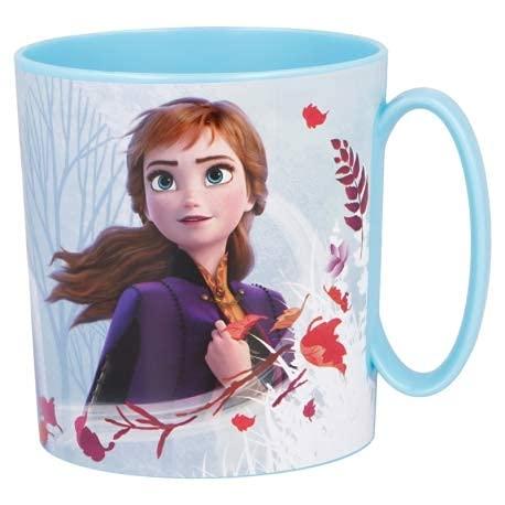 Disney Frozen Cup Taza de plástico de 350 ml para microondas con asa Desayuno para niños (Frozen)