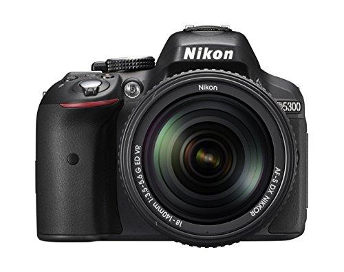 Nikon D5300 SLR-Digitalkamera (24,2 Megapixel, 8,1 cm LCD-Display, Full HD, HDMI, WiFi, GPS, AF-System mit 39 Messfeldern) Kit inkl. AF-S DX 18-140 VR Objektiv schwarz (Generalüberholt)
