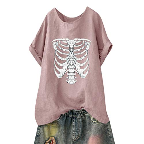 TWGONE Skeleton Shirt Women Short Sleeve Loose Plus Size Beach Vintage Daily Blouse Tops(Small,Pink-1)