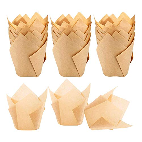 Binchil 200 Pieces Tulip Cupcake Liner Baking Cups Paper Cupcake and Muffin Baking Cups for Weddings and Birthday