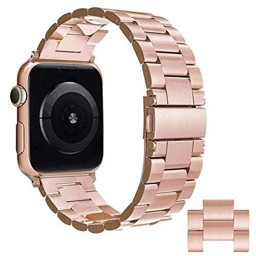 Simpeak Cinturino Compatibile con Apple Watch 42mm 44mm, Acciaio Inossidabile con Chiusura Pieghevole Cinghia Compatibile con iWatch Series 1/2/3/4/5/6/SE,Series 3/4 Oro