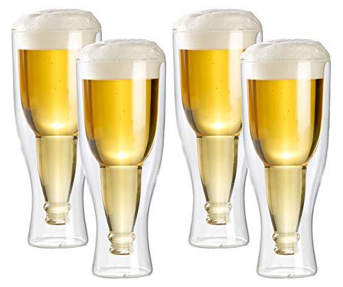 infactory Bier-Glas: Doppelwandiges Bierglas 0,33 l im 4er-Set (Gläser in Bierflasche-Optik)