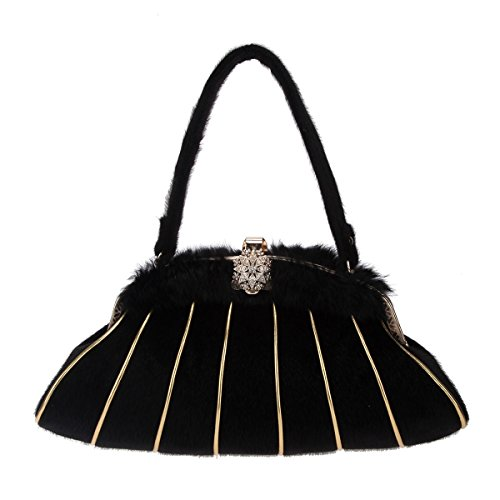 Bonjanvye Handbag Purses and Evening Party Purse Shoulder Bag Black