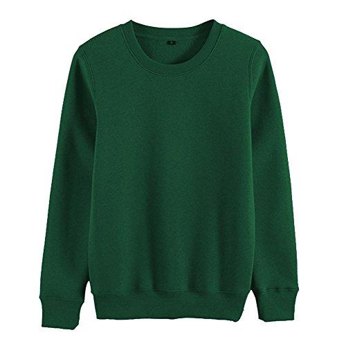 Sweat-Shirt Femme Uni T-Shirts à Cou Rond Manches Longues Pulls Tops Vert foncé XL