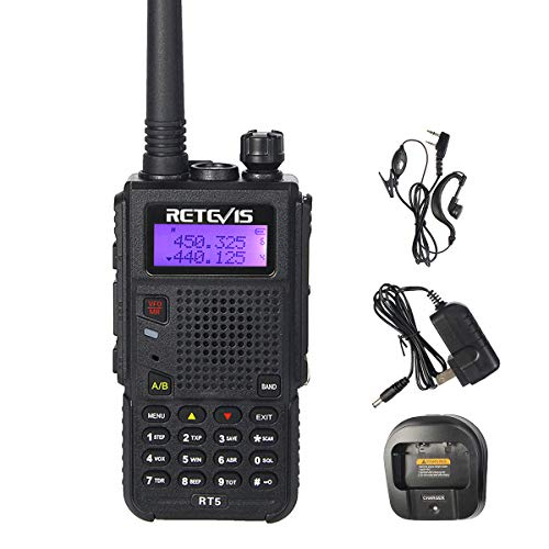 Retevis RT5 Two Way Radio Long Range VHF/UHF Dual Band Handheld Ham Radio 128CH VOX Walkie Talkie(1 Pack)