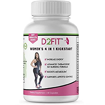 D2Fit (by Jessica Bass) Women's 4 in 1 Kickstart Thermogenic Supplement, Metabolism Booster, Appetite Suppressant with Green Tea Extract & BioPerine - 60 Capsules (1 Month)