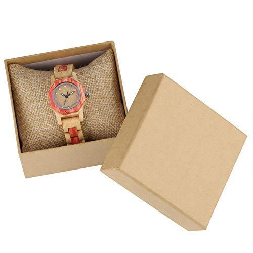 FMXKSW Holzuhr, Vogue Octagonal Shape Holzuhr Damen Kristall Diamant Zifferblatt Quarz Armbanduhr Bambus Holz Armband Stundenuhr, Uhr mit Box