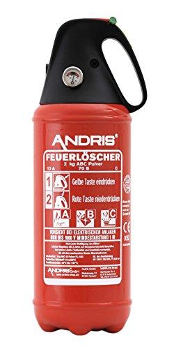 Feuerlöscher ABC Pulver 2kg, für Auto/LKW, mit KFZ-Drahthalter, handliche Griffhaube mit integrierter Löschdüse, EN3, inkl. ANDRIS® Prüfnachweis mit Jahresmarke & ISO-Symbolschild