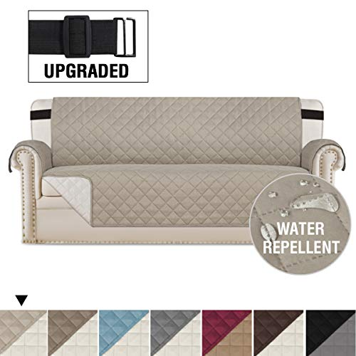 H.VERSAILTEX Reversible Sofa Slipcover Quilted Furniture Protector with 2' Elastic Strap Water Resistant Sofa Covers Seat Width Up to 66' Slipcover Protect from Dogs (Sofa, Khaki/Beige)