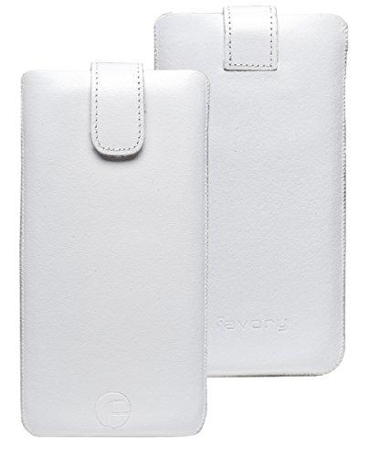 Favory ® Etui Tasche für / LG WineSmart / Handytasche Ledertasche Schutzhülle *Lasche mit Rückzugfunktion* In Weiss