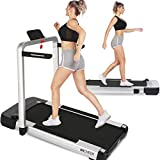 ANCHEER 2-in-1 Folding Treadmill, 2.25HP Electric Under Desk Treadmill for Home Workout, Walking & Running Exercise Machine for Small Spaces with Remote Control, LCD Screen & App (Silver)