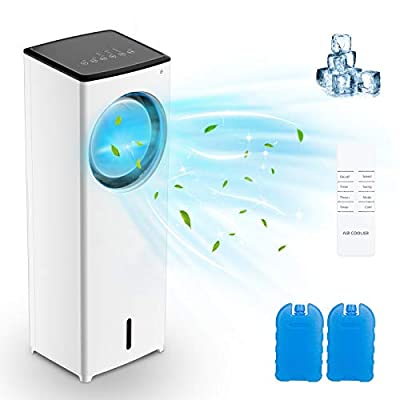 Evaporative Air Cooler, Melophy Air Conditioner Fan with Timer, 3 Mode Settings Normal, Natural and Sleep, 3 Fan Speeds, LED Display, Remote Control Included, for Home and Office use