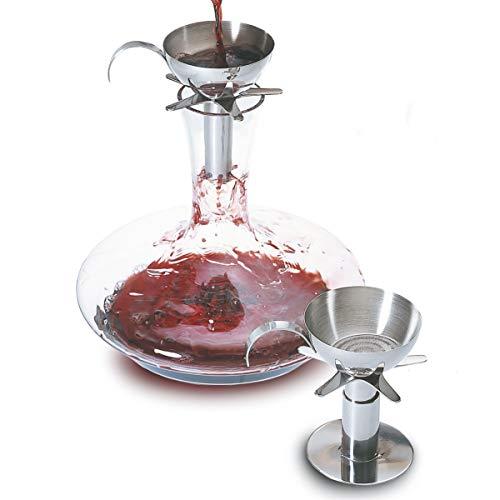 Pulltex - Set Imbuto Aeratore con piedistallo per decanter - Facilita l'ossigenazione del vino - Inox Decanting Funnel