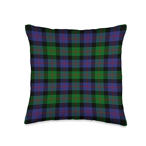 The Celtic Flame Plaid Tartans Scottish Clan Blair Tartan Plaid Throw Pillow, 16x16, Multicolor