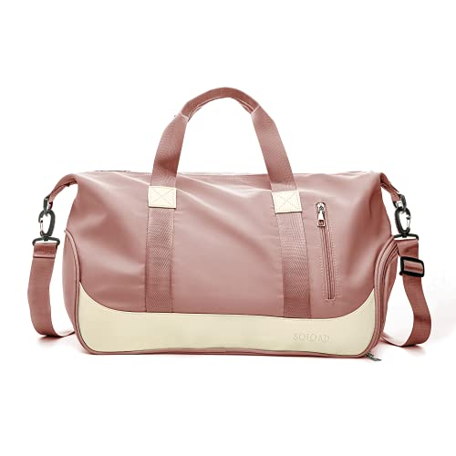 SOLOAD Sports Gym Bag Travel Duffel Bag, Weekender Overnight Bag with Shoes Compartment & Wet Pocket (Pink)